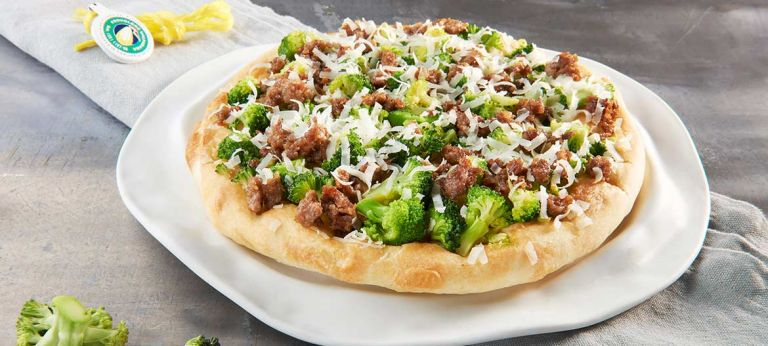 Focaccia with sausage, broccoli and strong Provolone Valpadana P.D.O.