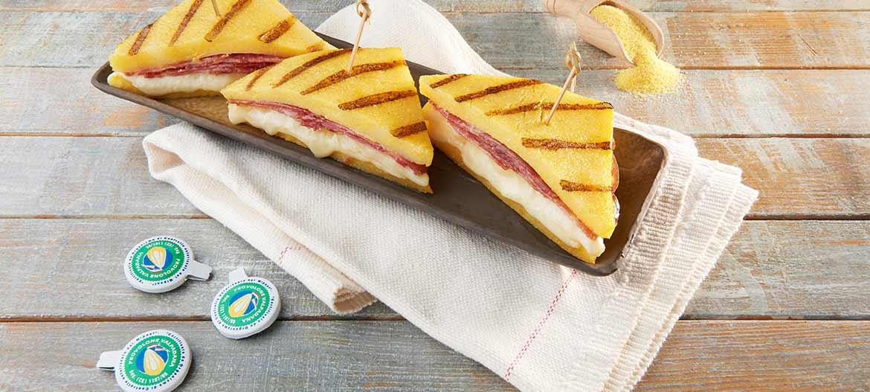 Grilled polenta sandwiches with mild Provolone Valpadana P.D.O. and Salame Cremona PGI