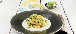 Linguine with broccoli on mild Provolone Valpadana P.D.O. fondue