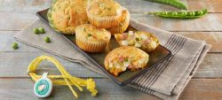 Muffins with mild Provolone Valpadana P.D.O., sweet peas and cooked ham