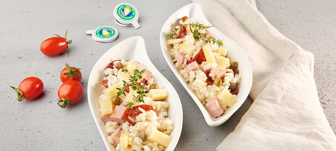 Rice salad with strong Provolone Valpadana, Mortadella Bologna and Capers