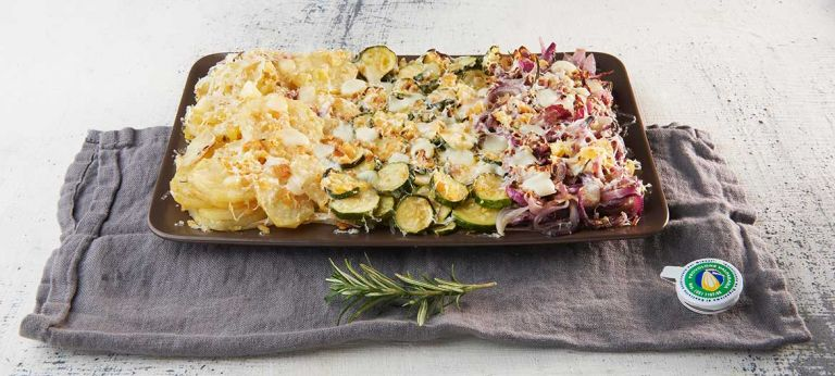 Vegetable gratin and mild Provolone Valpadana P.D.O.