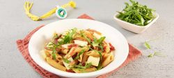 Whole-wheat penne salad with strong Provolone Valpadana P.D.O.