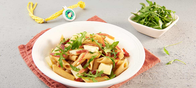 Whole-wheat penne salad with strong Provolone Valpadana P.D.O.