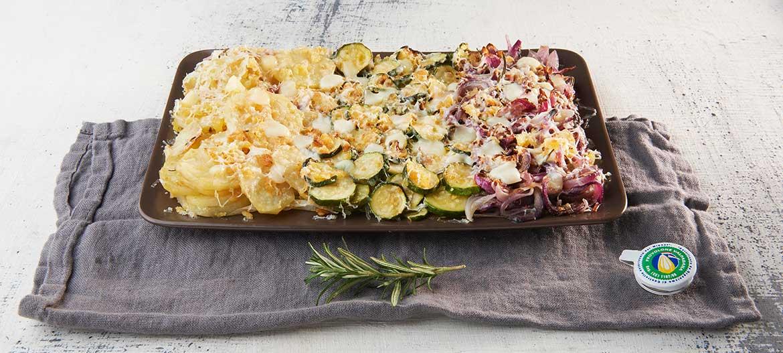 Gratinado de verduras y Provolone Valpadana dulce
