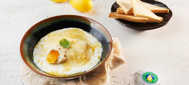 Huevos en cocotte, Provolone Valpadana dulce, menta y limón
