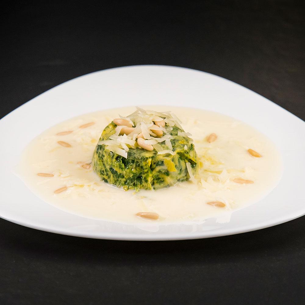 Flan di spinaci in fonduta di Provolone Valpadana DOP dolce