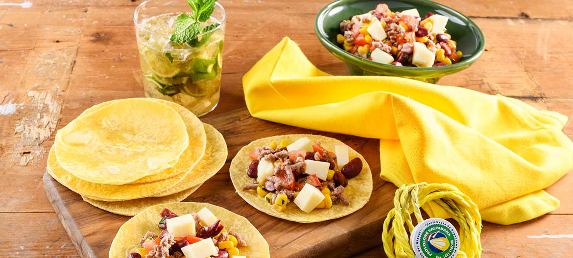 Tortillas with meat chili and strong Provolone Valpadana PDO
