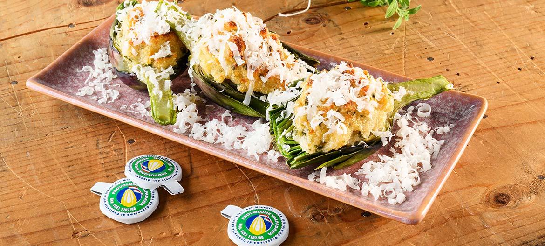Alcachofas al horno y Provolone Valpadana picante