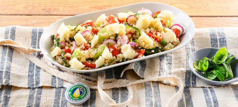 Couscous Panzanella with strong Provolone Valpadana
