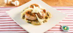 Pork tenderloin with mushrooms and strong Provolone Valpadana
