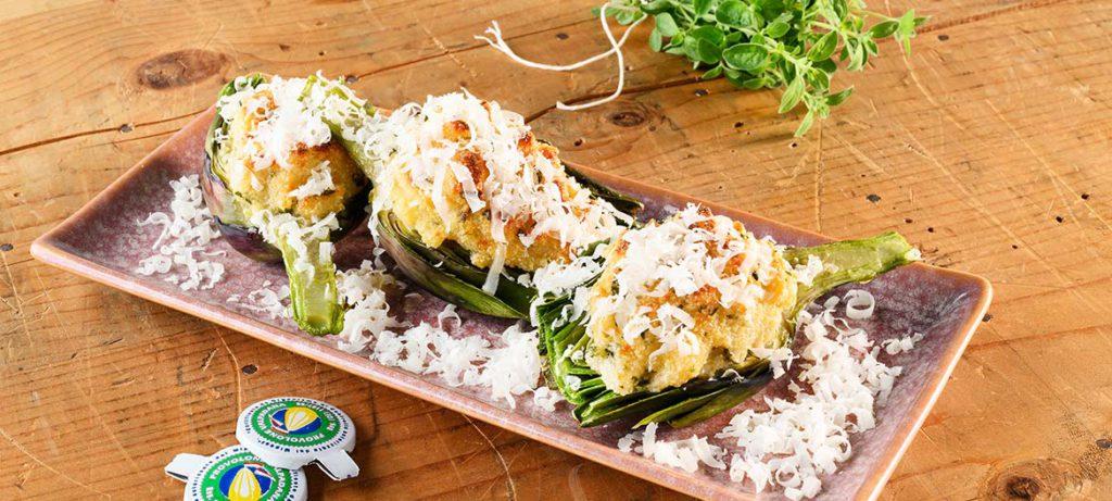 ricette con verdure e formaggio Carciofi al forno e Provolone Valpadana
