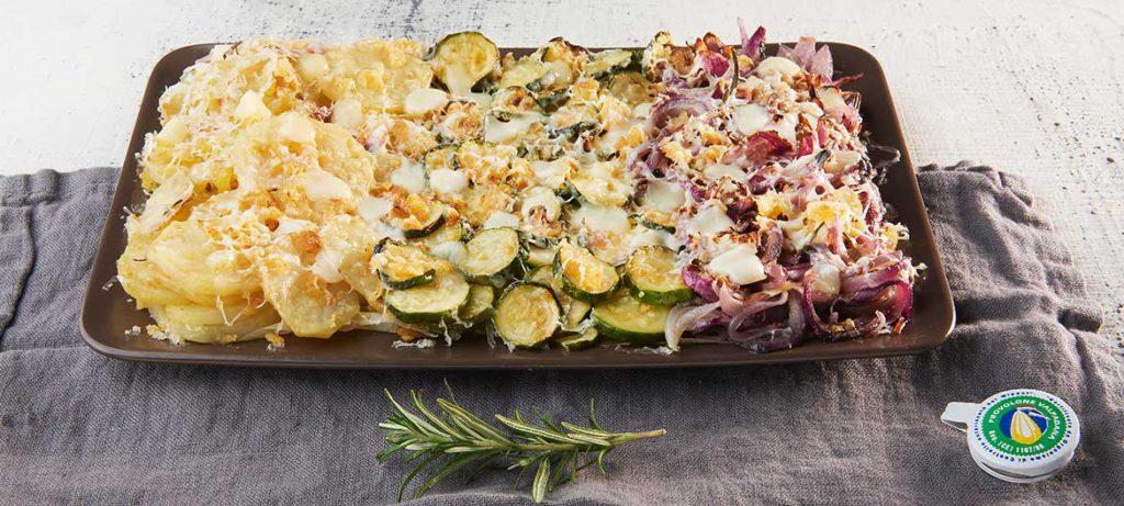ricette con verdure e formaggio Gratin di verdure e Provolone Valpadana