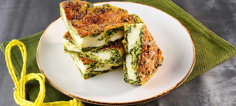 Flan of potatoes spinach and mild Provolone Valpadana