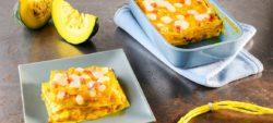 lasagne with pumpkin, bacon and mild Provolone Valpadana