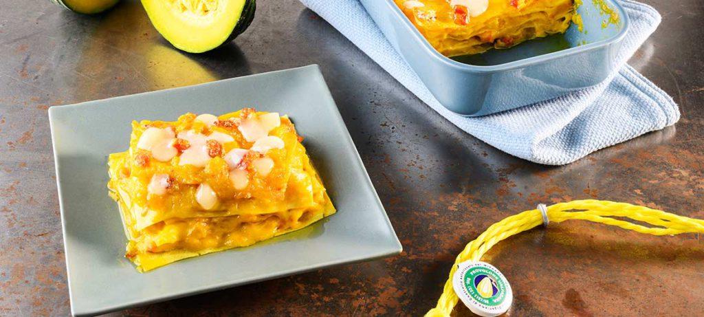 Natale a tavola Lasagna con zucca e Provolone Valpadana