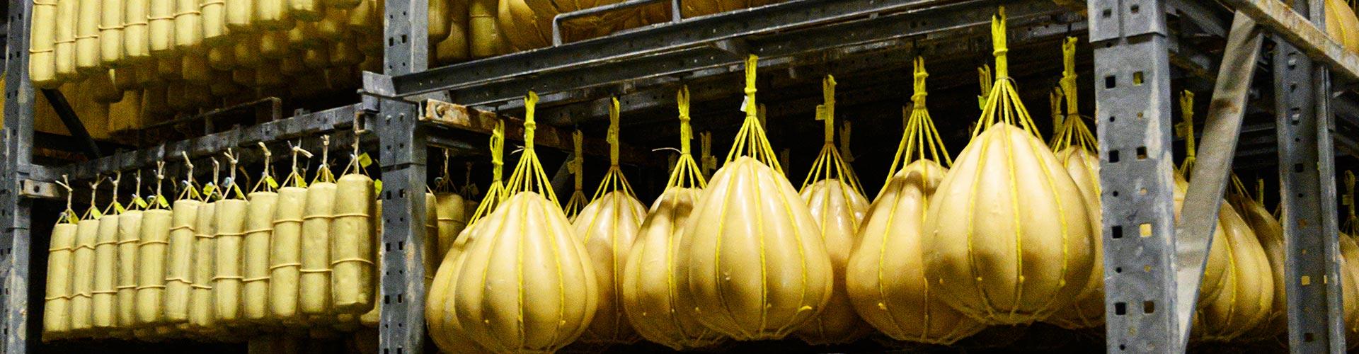 Curación del Provolone Valpadana pancetas y mandarinas