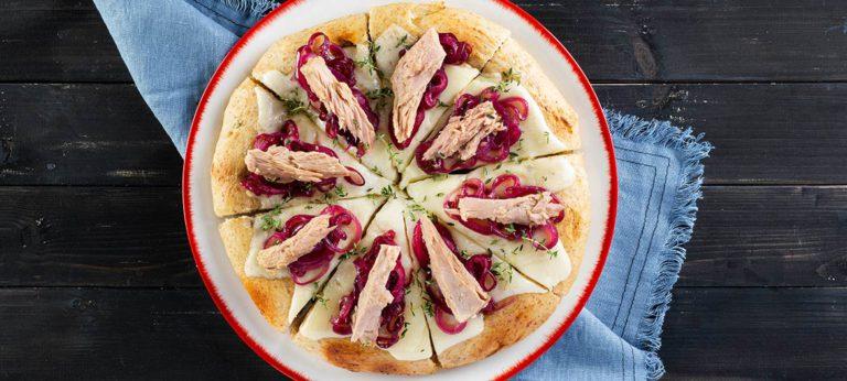 Pizza gourmet de trigos antiguos con Provolone Valpadana