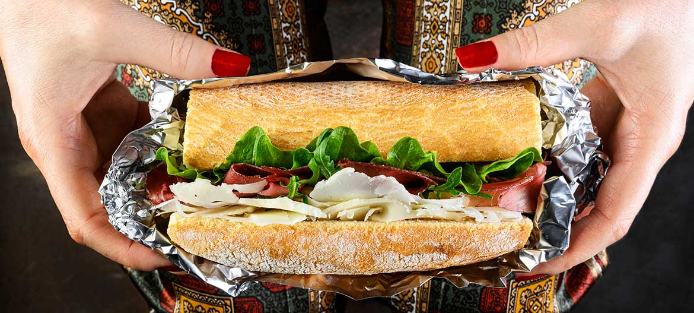 Sandwich with Bresaola rucola and mild Provolone Valpadana