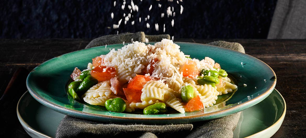 Farfalle pasta with Broad Beans Guanciale and Provolone Valpadana
