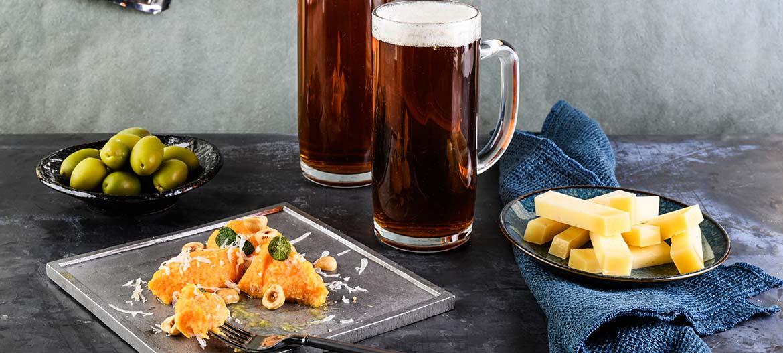 Pumpkin quenelle with mild Provolone Valpadana and hazelnuts