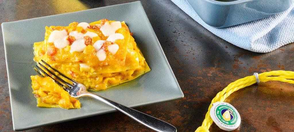 schiscetta ricette pausa pranzo in ufficio: Lasagna zucca e Provolone Valpadana